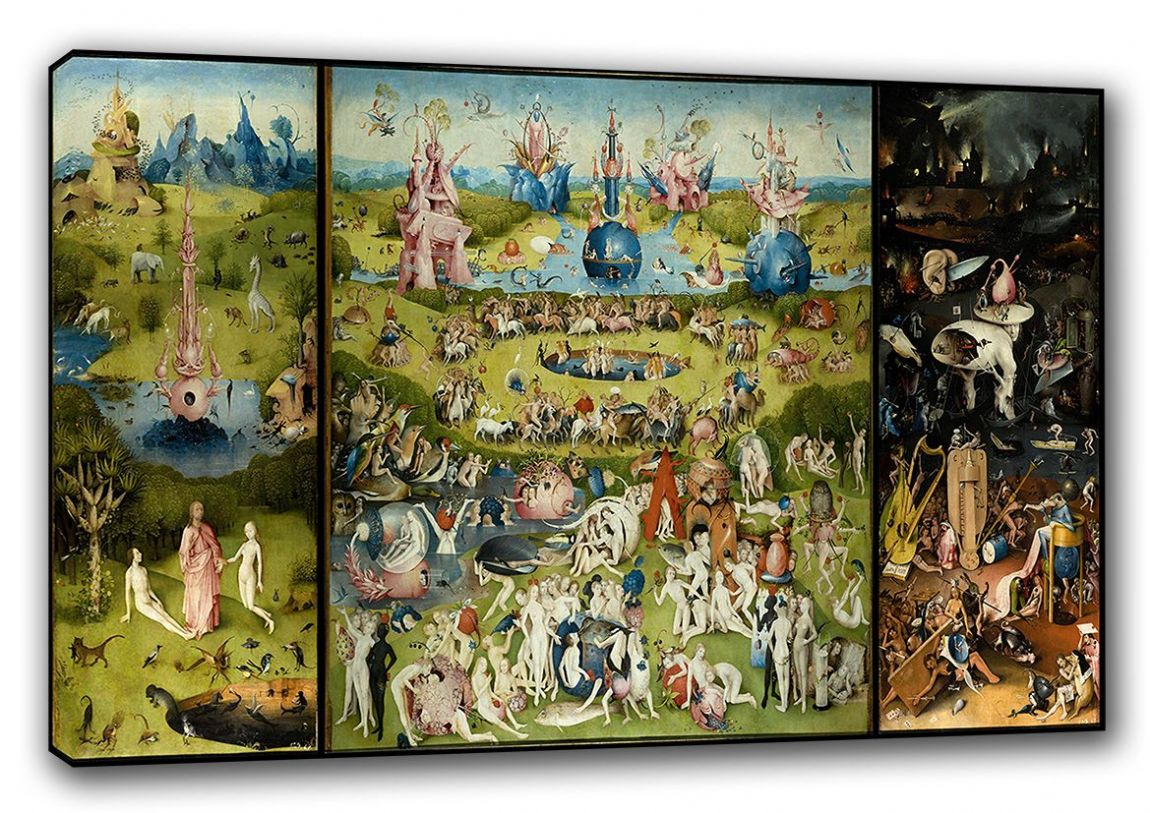 Bosch, Hieronymus: The Garden of Earthly Delights. Heaven/Hell Fine Art Canvas. Sizes: A3/A2/A1 (00233)